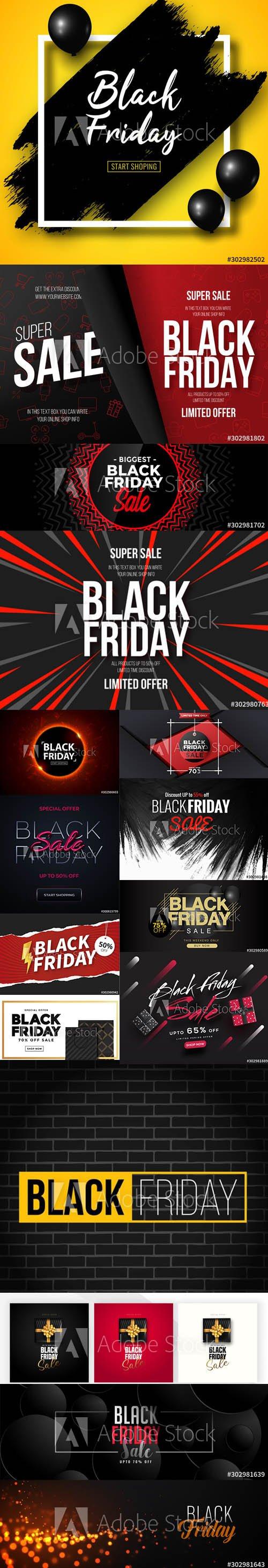 Black Friday Sale Banner Illustrations Pack