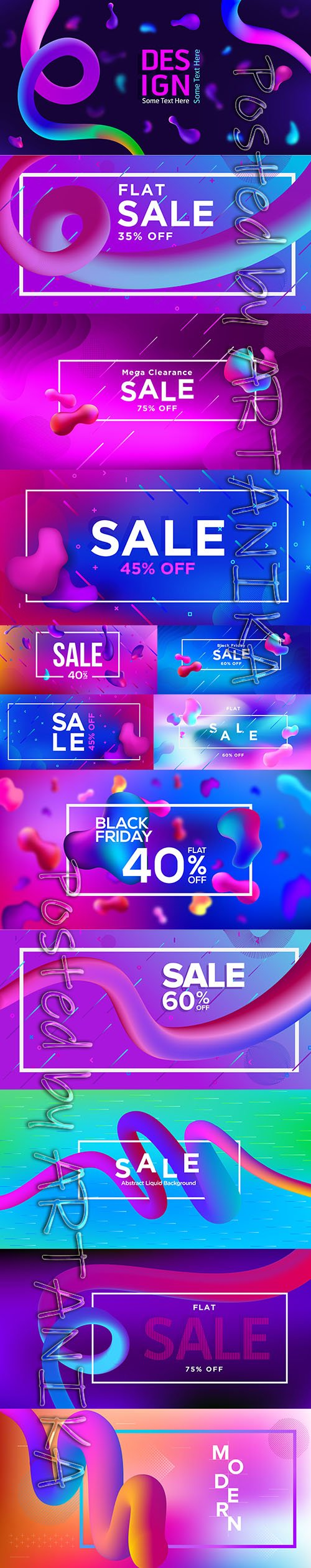 Abstract Fluid Sale Banner Template Set