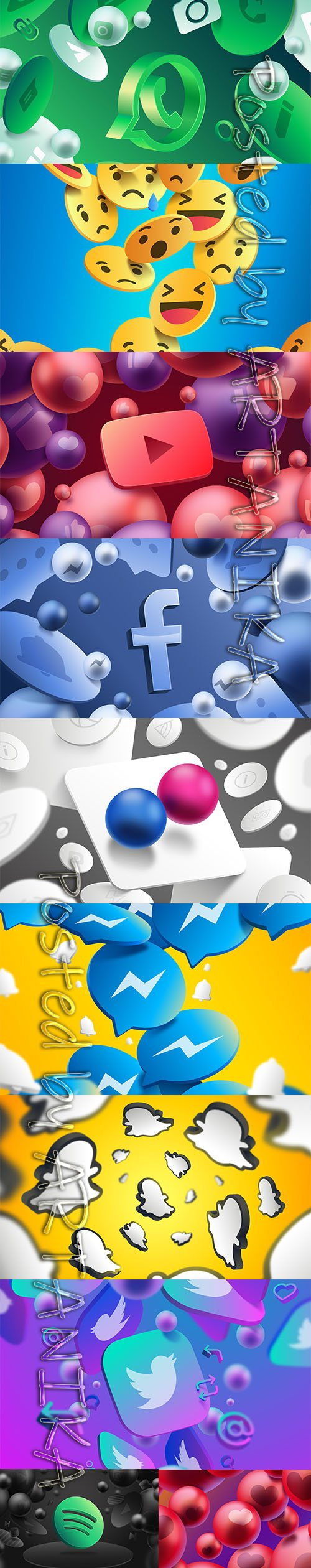 Abstract Background with Social Logos