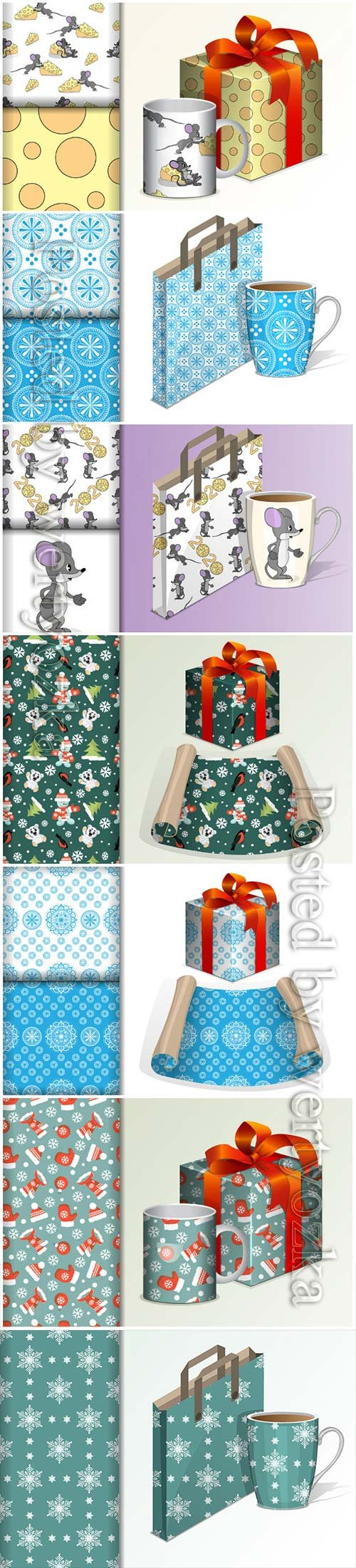 Seamless background paper roll and gift and mock up