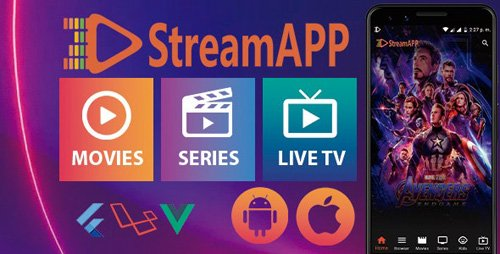 CodeCanyon - StreamApp v1.1 - Streaming Movies, TV Series and Live TV - Flutter Full App with Admin Panel - 24483188