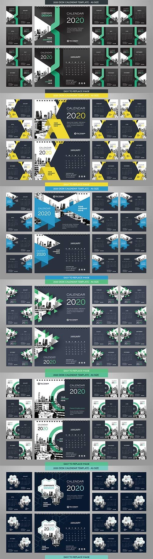 Desk Calendar 2020 template - 12 months included - A5 Size