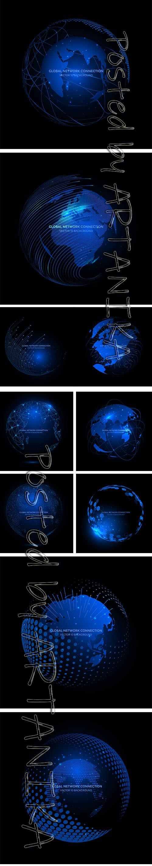 Communication Technology Internet Business Connection Backgrounds Set