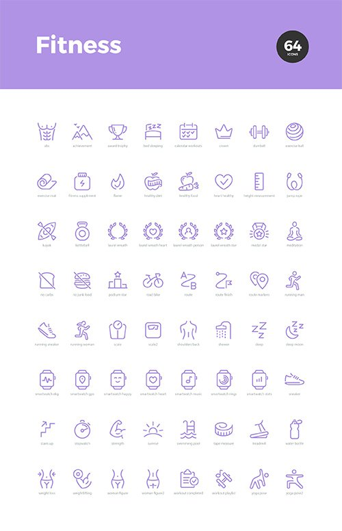 64 Fitness Icons