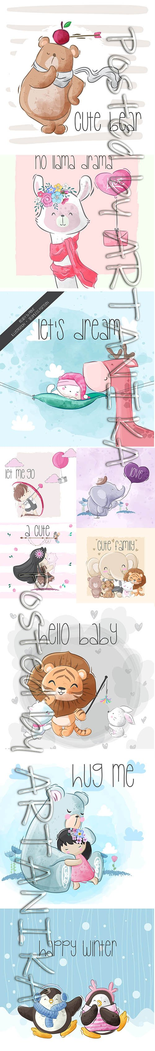 Little Animals and Child Illustrations Set