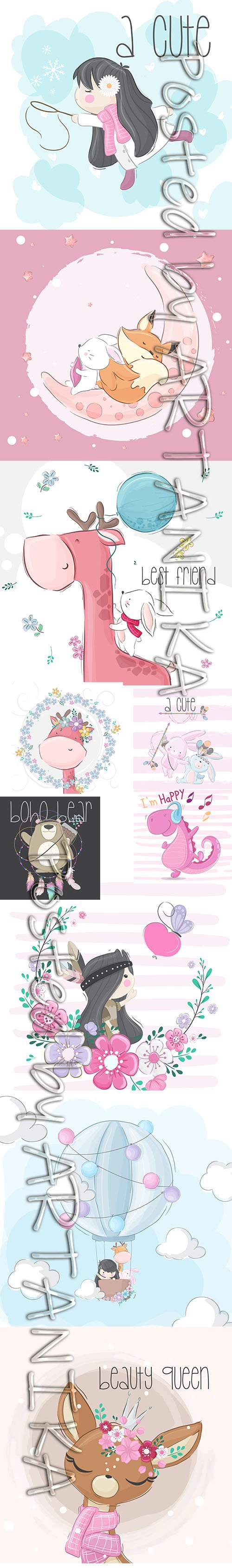 Little Animals and Child Illustrations Set Vol 4