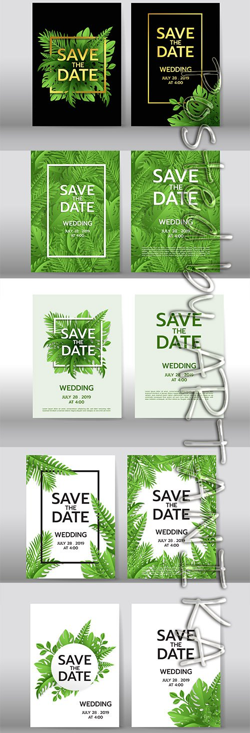 Tropical Palm Leaves Background Set