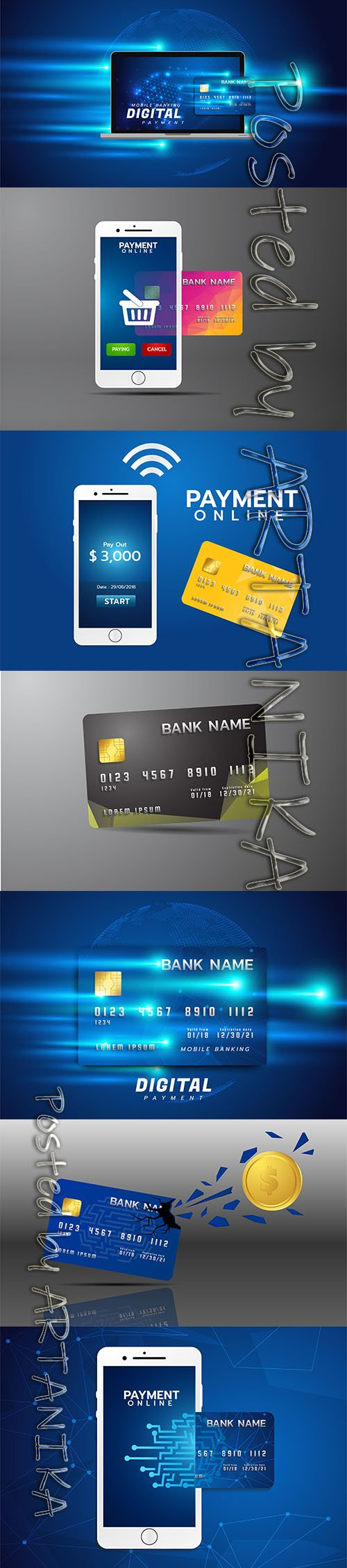 Internet Banking Illustration with Laptop Credit Card Pack