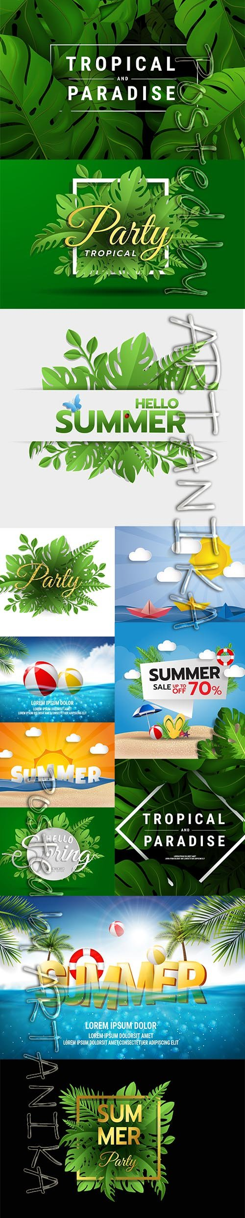 Green Summer Party Tropical Background Set