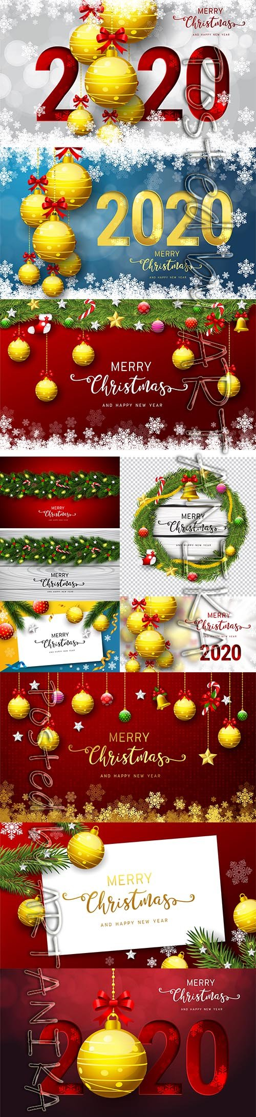 Merry Christmas and New Year 2020 Vector Illustrations Set Vol 14