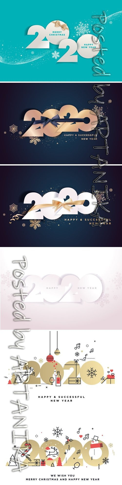 Happy New Year 2020 business greeting card