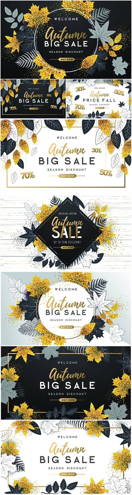 Autumn big sale poster with golden and black autumn leaves