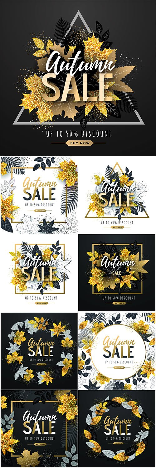 Autumn big sale typography poster with golden and black autumn leaves