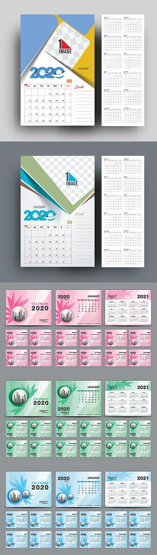 Desk Calendar 2020 template vector, cover design, Set of 12 Months