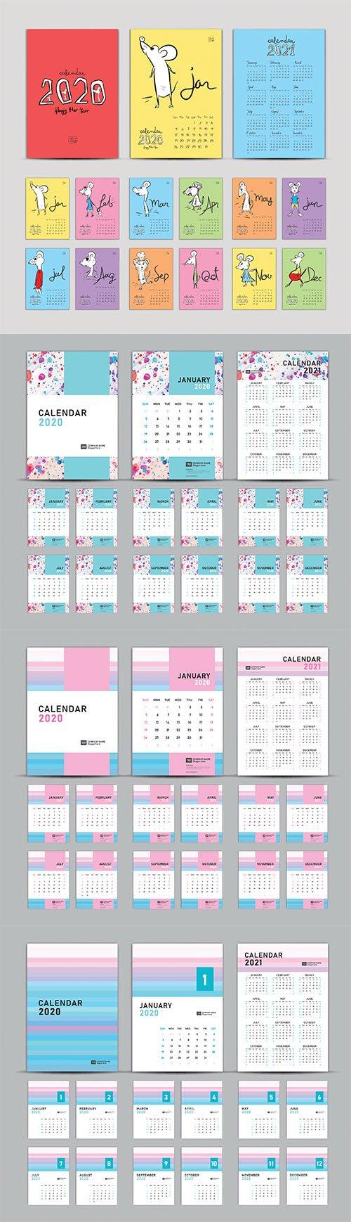 Calendar 2020-2021, Set Desk Calendar 2020 template vector, cover design, Set of 12 Months