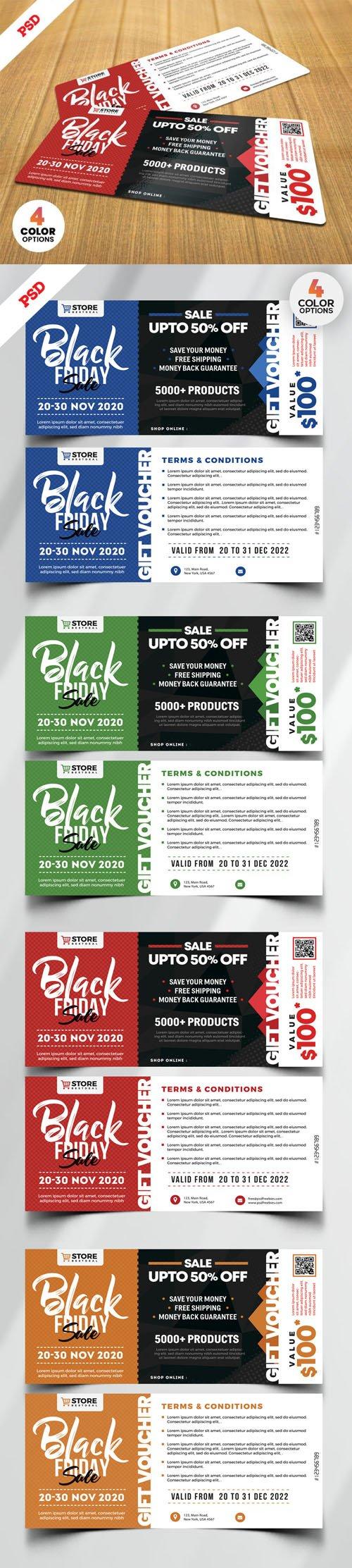 Black Friday Sale Voucher Design PSD Templates