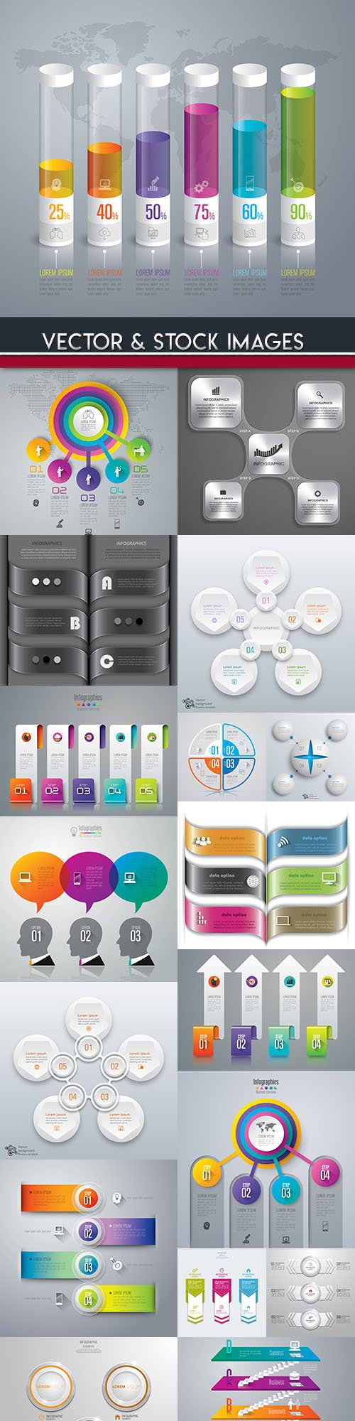 Business infographics options elements collection 111