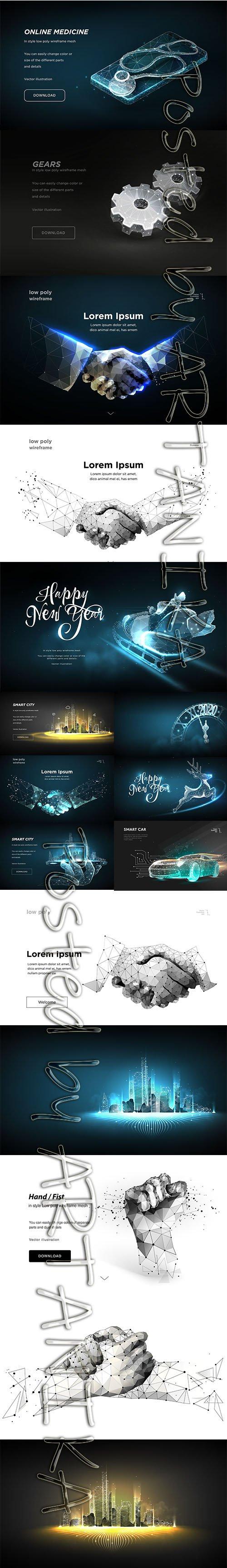 Abstract Future Vector Illustration Set
