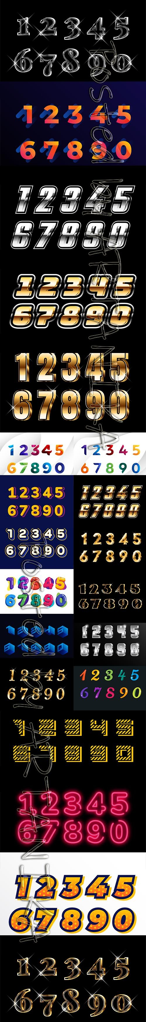 Collection of Luxury, Modern and Playful Gold and Silver Numbers