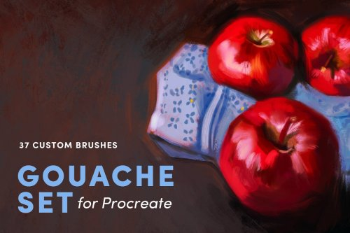 CreativeMarket - Gouache Set – Procreate Brushes 3948209