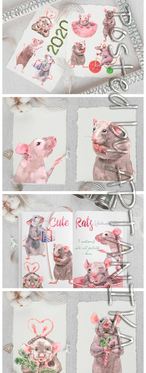 Cute Rats Watercolor Set 2153005