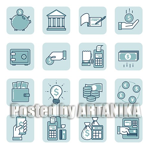 Set of Linear Icons Finance and Banking
