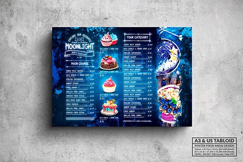 Moonlight Bakery Menu - A3 & US Tabloid Poster PSD