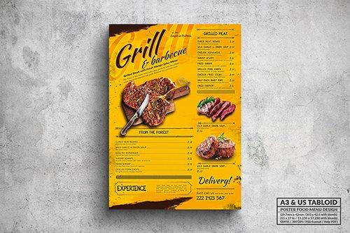 Grill & BBQ Poster Food Menu - A3 & US Tabloid