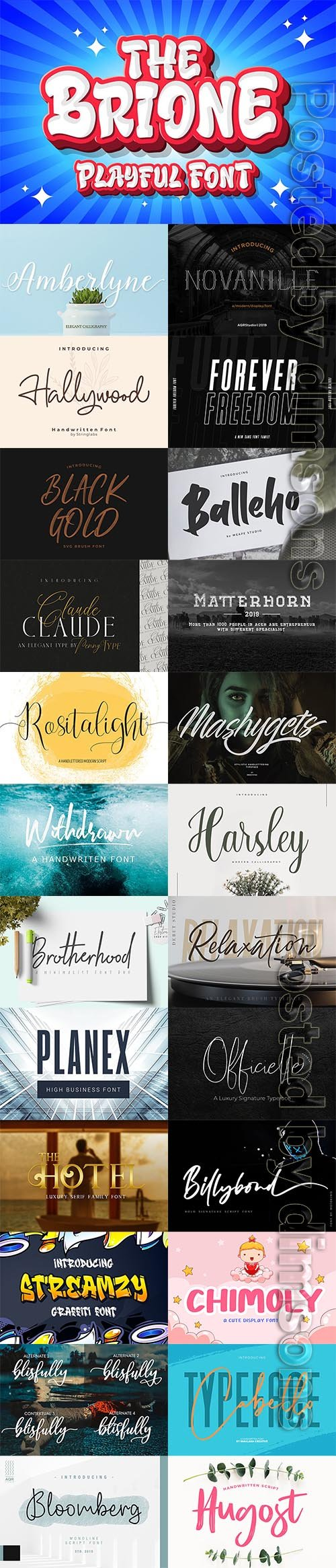 25 Fresh Font Bundle 2019 Vol 13