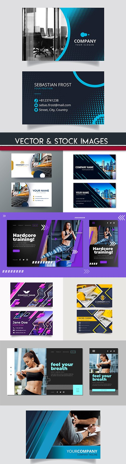 Business card and sheet template page design