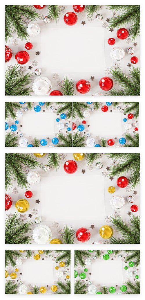 Christmas Card On White Surface With Ornaments Mockup 227103634 PSDT