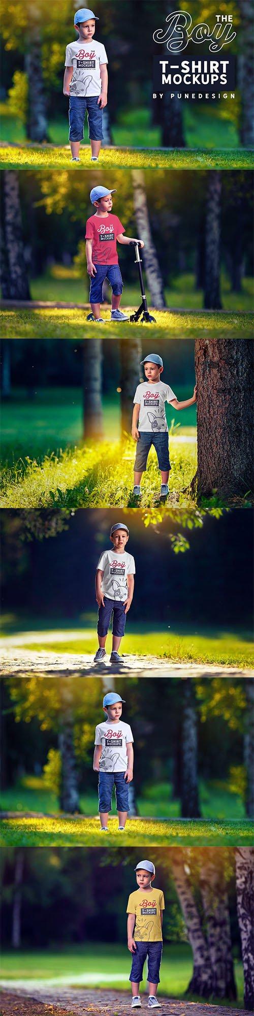 Boy T-Shirt Mock-Up Set 2 PSD