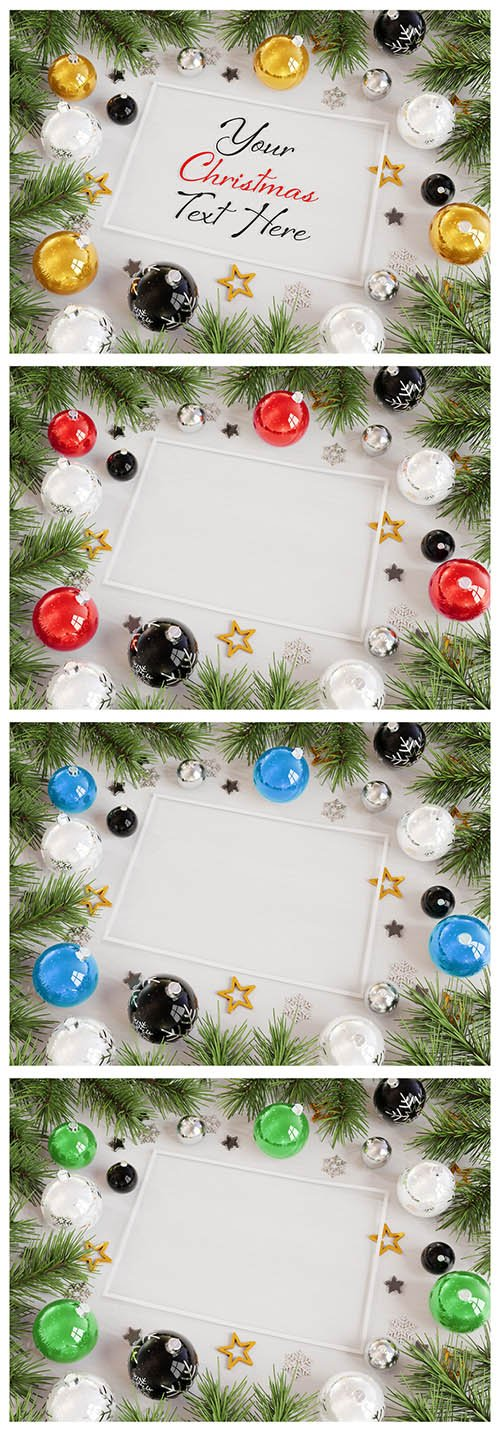 Christmas Card with Ornaments Mockup 232193854 PSDT