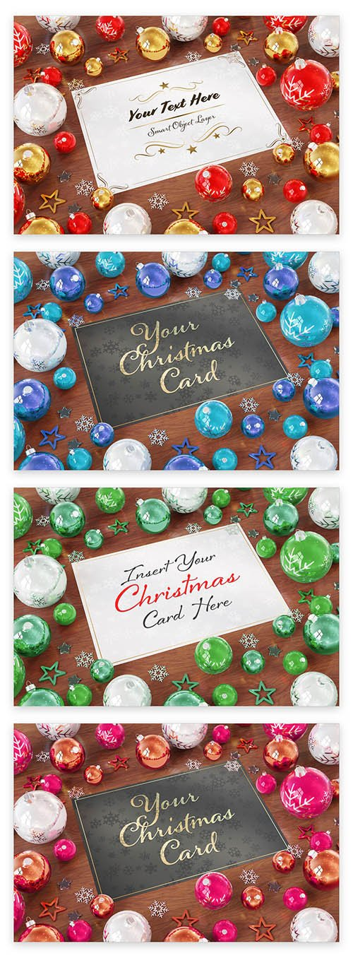 Christmas Card with Ornaments on Wooden Table Mockup 229639892 PSDT