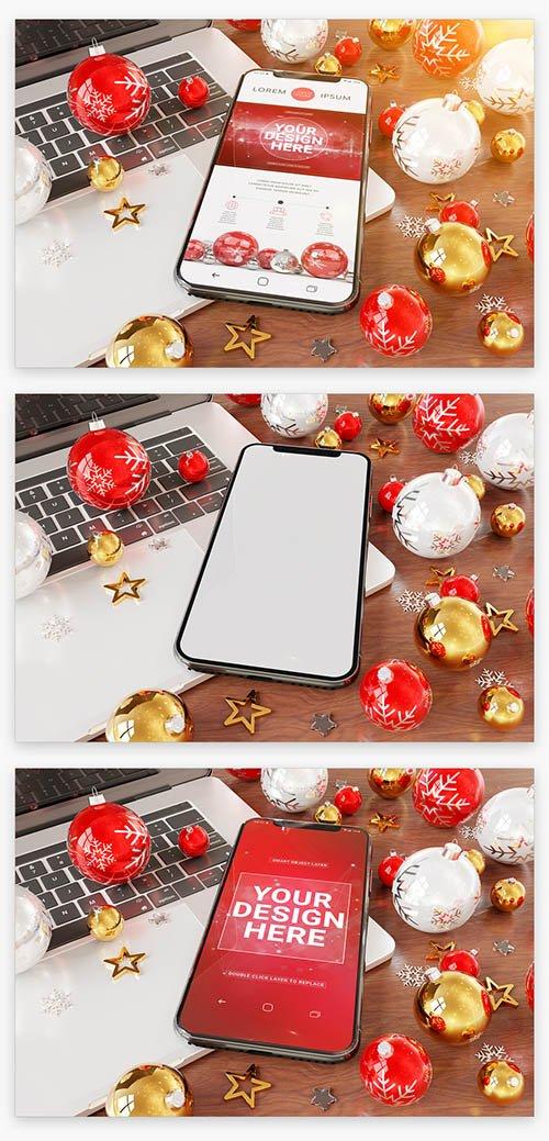 Smartphone near Holiday Ornaments Mockup 222041466 PSDT