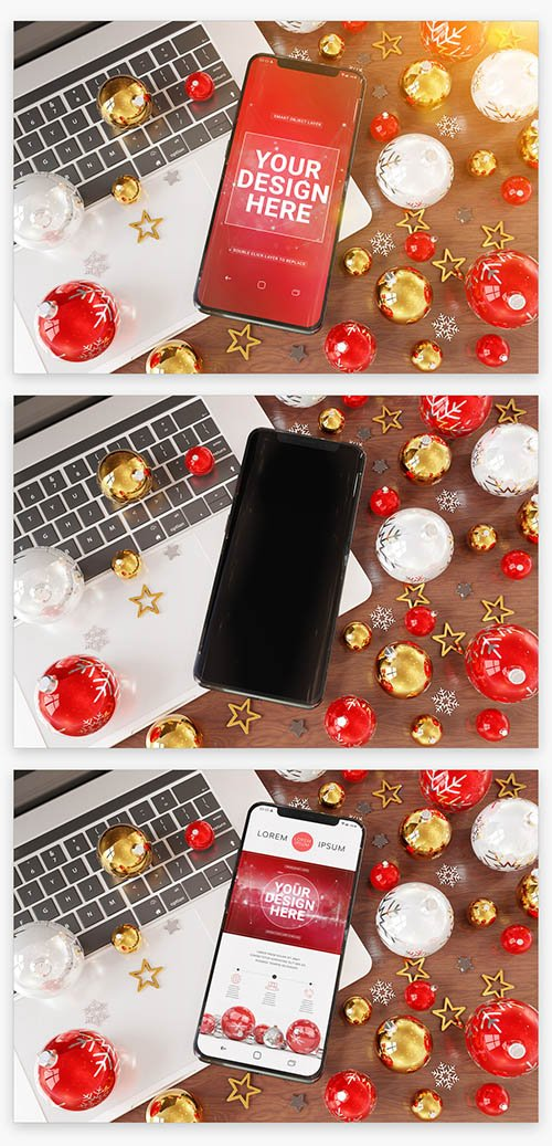 Mobile Phone Laying on a Laptop near Christmas Ornaments Mockup 222832498 PSDT