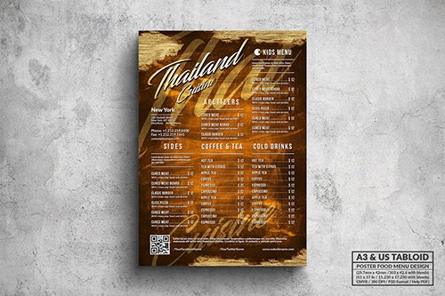 Vintage Elegant Thai Poster Menu - A3 & US Tabloid PSD