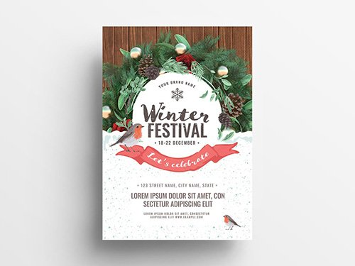Event Flyer with Winter Scene Illustration 305812729 PSDT