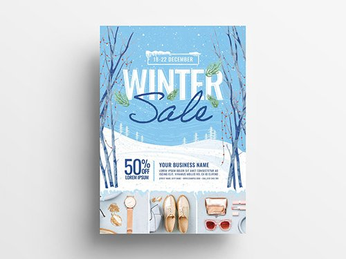Event Flyer with Winter Scene Illustration 305813831 PSDT
