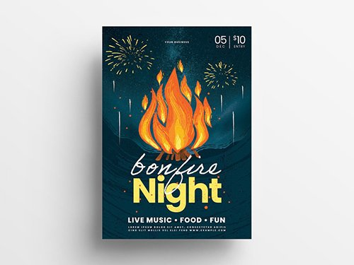Event Flyer Layout with Bonfire Illustrations 305814145 PSDT