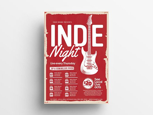 Red Event Flyer Layout with Grunge Texture and Guitar Illustration 305812143 PSDT