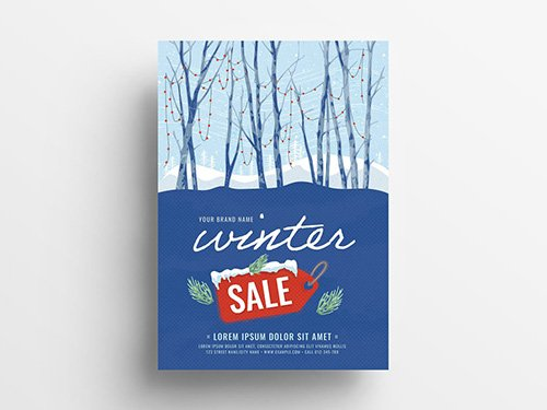Event Flyer with Winter Scene Illustration 305812737 PSDT