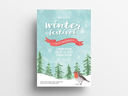 Event Flyer with Winter Scene Illustration 305812622 PSDT