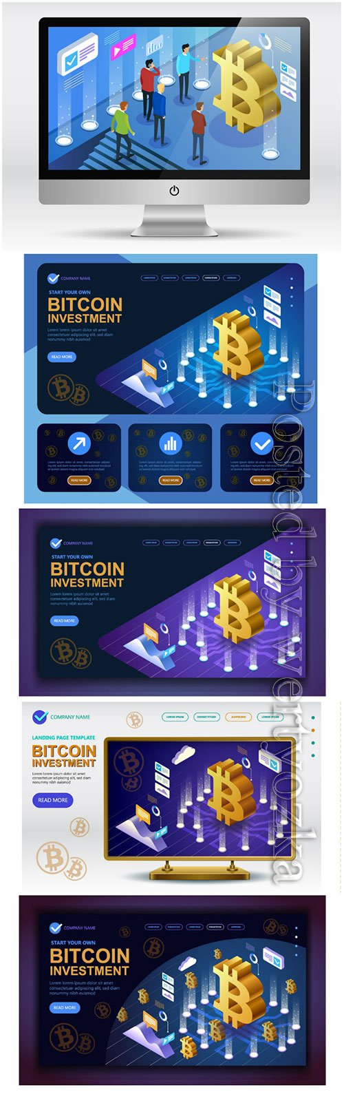 Bitcoin cryptocurrency isometric concept