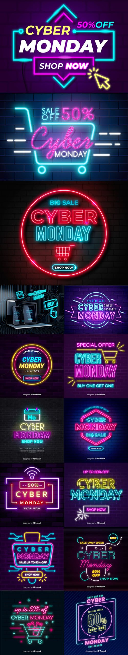 Cyber Monday Sales With Neon Lights Vector Collection