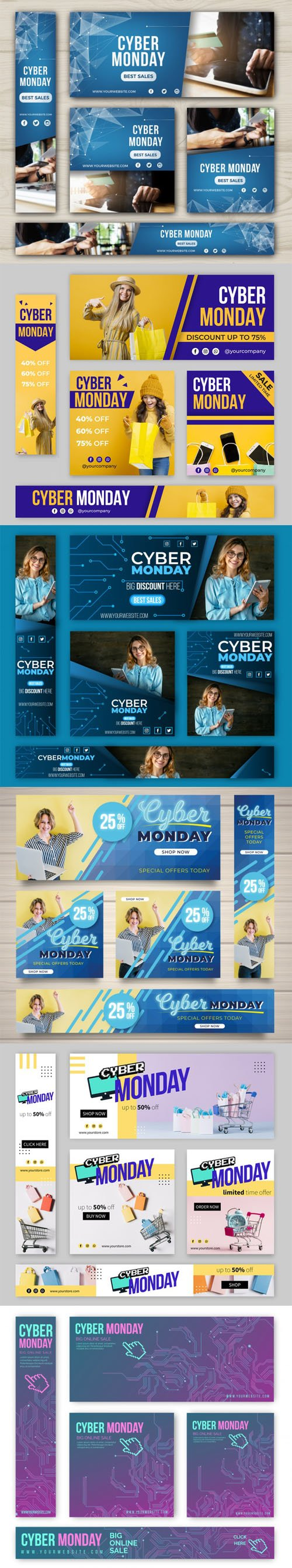Cyber Monday 2019 Banners Vector Colletion Vol.1