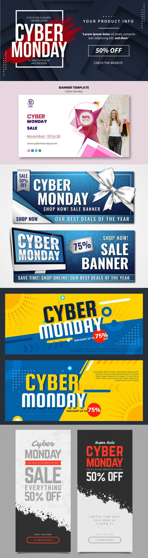 Cyber Monday 2019 Banners Vector Colletion Vol.2