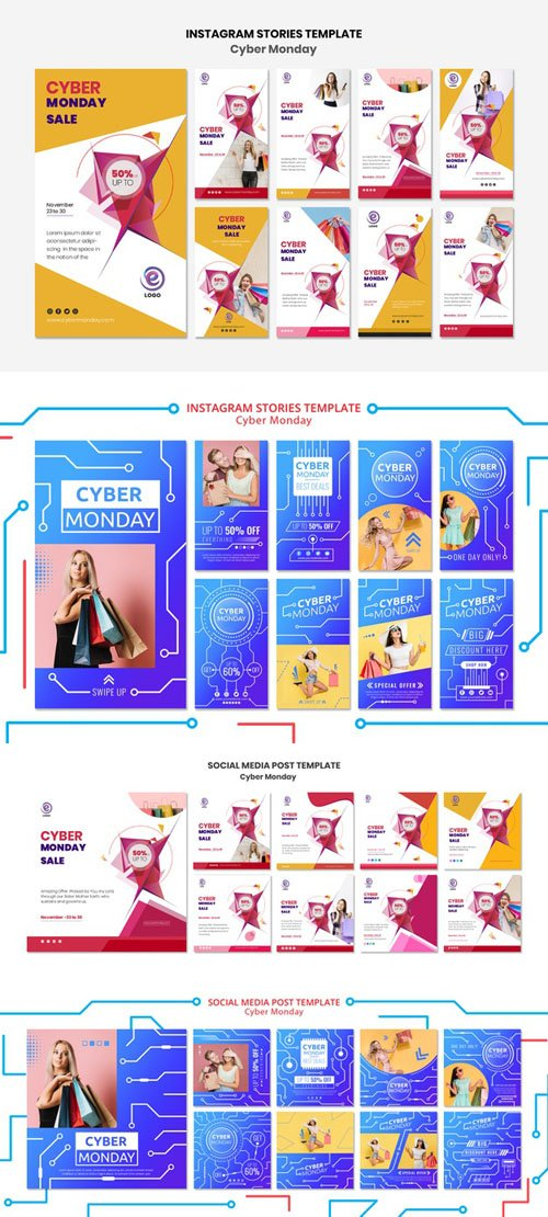 Cyber Monday Social Media Post PSD Templates