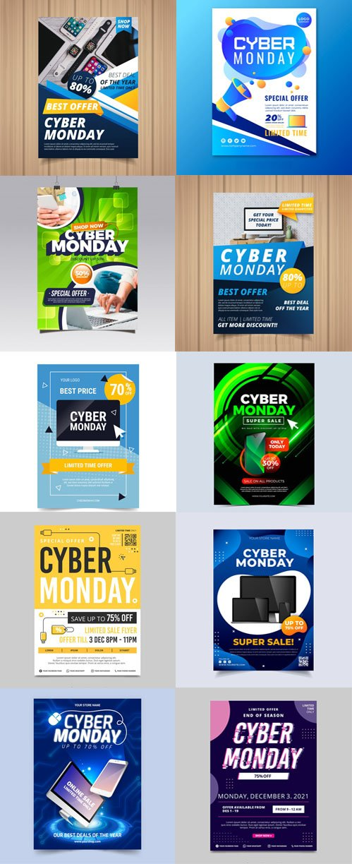 Cyber Monday Offers Flyers Vector Collection
