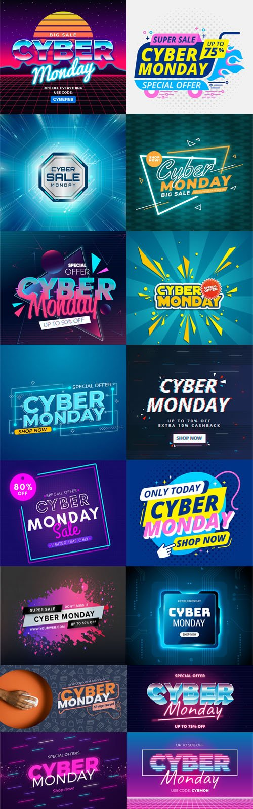 Cyber Monday Concept Flat Designs Vector Templates